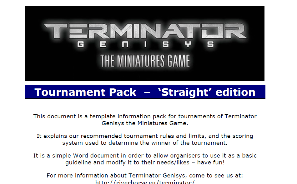 Tournament Pack for Terminator Genisys The Miniatures Game by River Horse