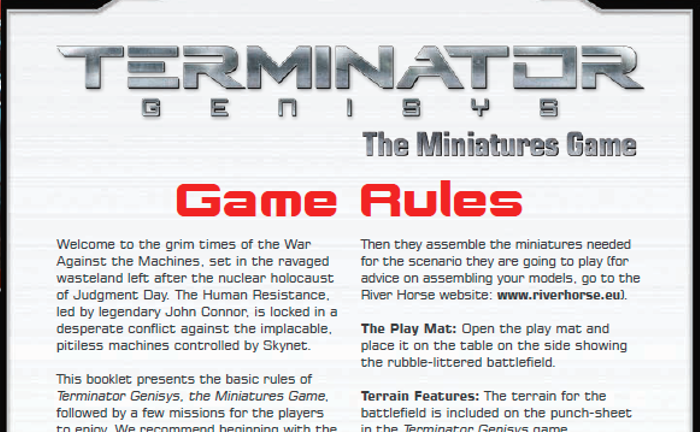 Game Rules for Terminator Genisys The Miniatures Game by River Horse