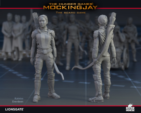 Render of Katniss Everdeen for The Hunger Games: Mockingjay - The Board Game by River Horse