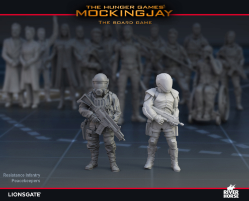 Renders of The Peace Keepers and Resistance Infantry for The Hunger Games: Mockingjay - The Board Game by River Horse