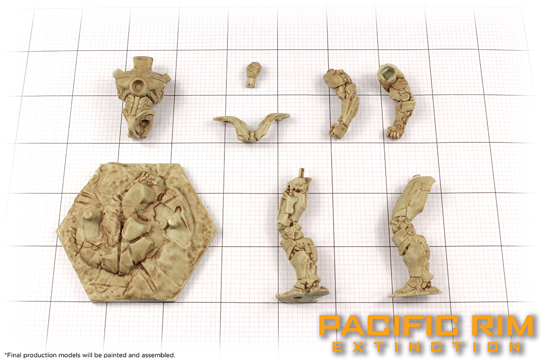Unpainted model parts of Gipsy Danger from Pacific Rim: Extinction by River Horse